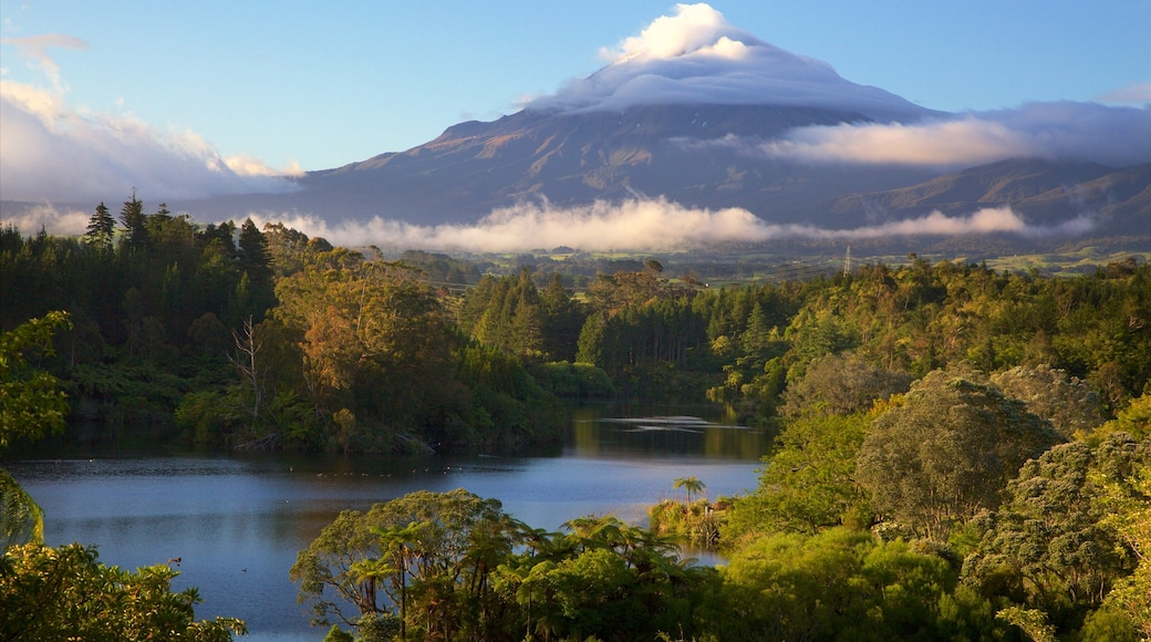 Taranaki which includes a lake or waterhole, forest scenes and mountains