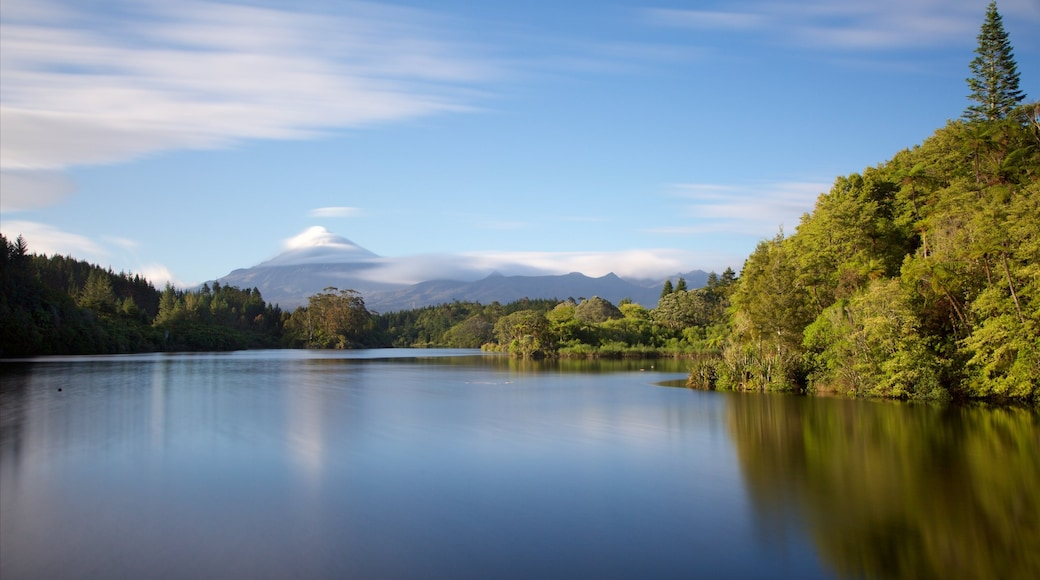 Taranaki which includes mountains, a lake or waterhole and forests