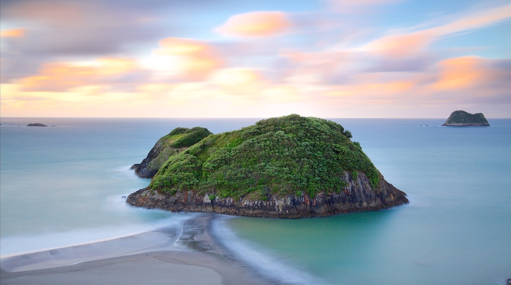 Sugar Loaf Marine Reserve showing a bay or harbour, a sunset and island images
