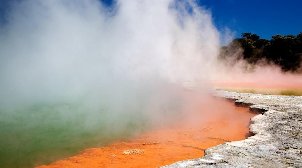 Wai-O-Tapu Thermal Wonderland featuring järvi tai vesikuoppa, usvaa tai sumua ja kuuma lähde
