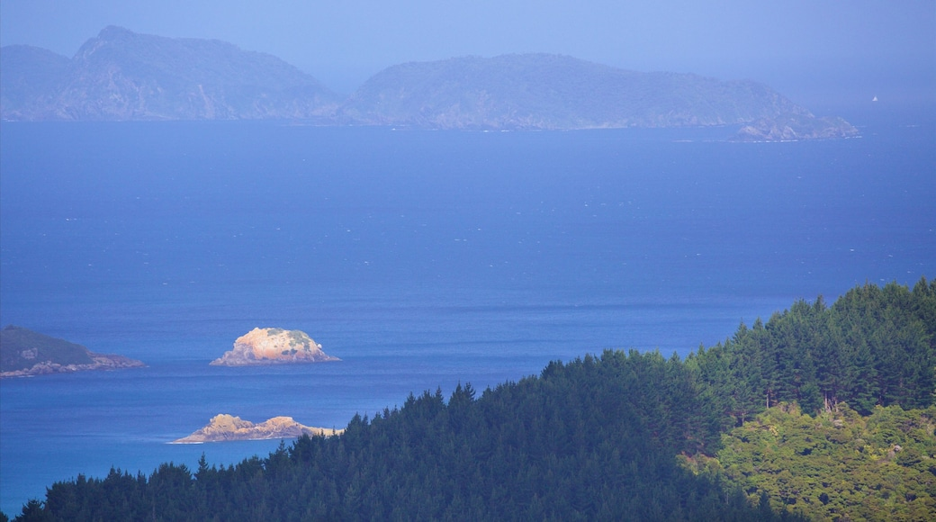 Mount Manaia which includes forests and a bay or harbour