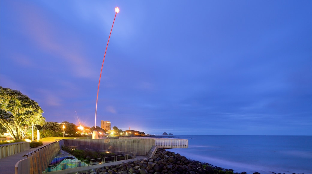 Wind Wand showing night scenes, a bay or harbour and rugged coastline