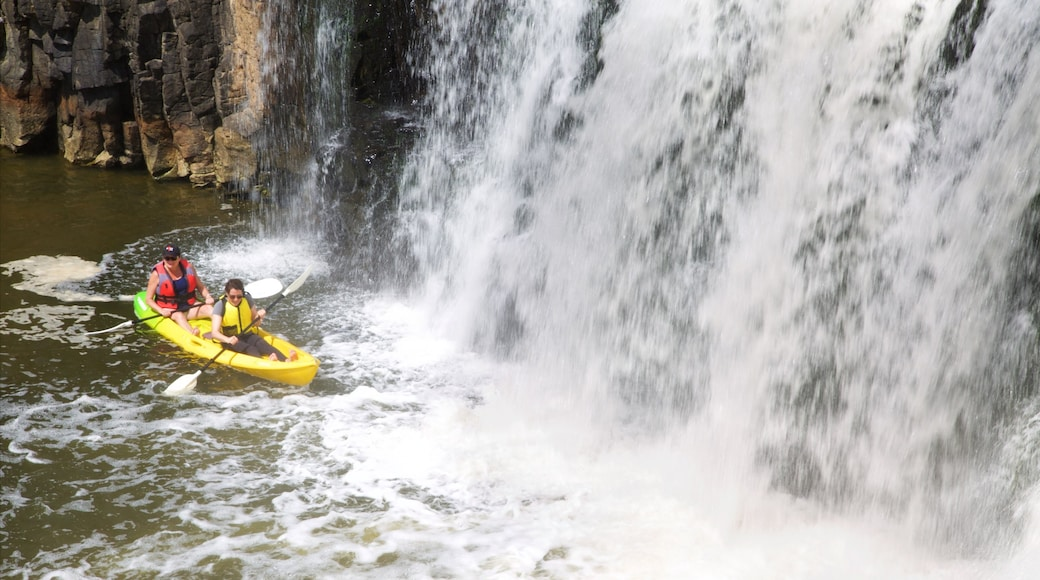 Haruru Falls featuring kayaking or canoeing, a waterfall and a river or creek