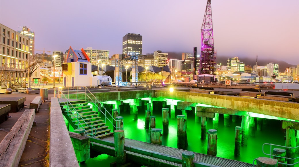 Wellington showing night scenes, a city and a bay or harbour