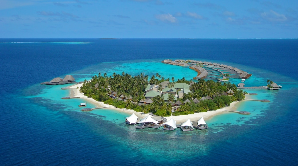Maldives showing a luxury hotel or resort and island views
