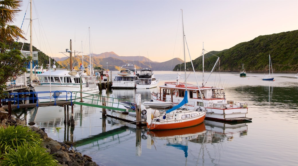 Picton Harbour showing a sunset and a marina