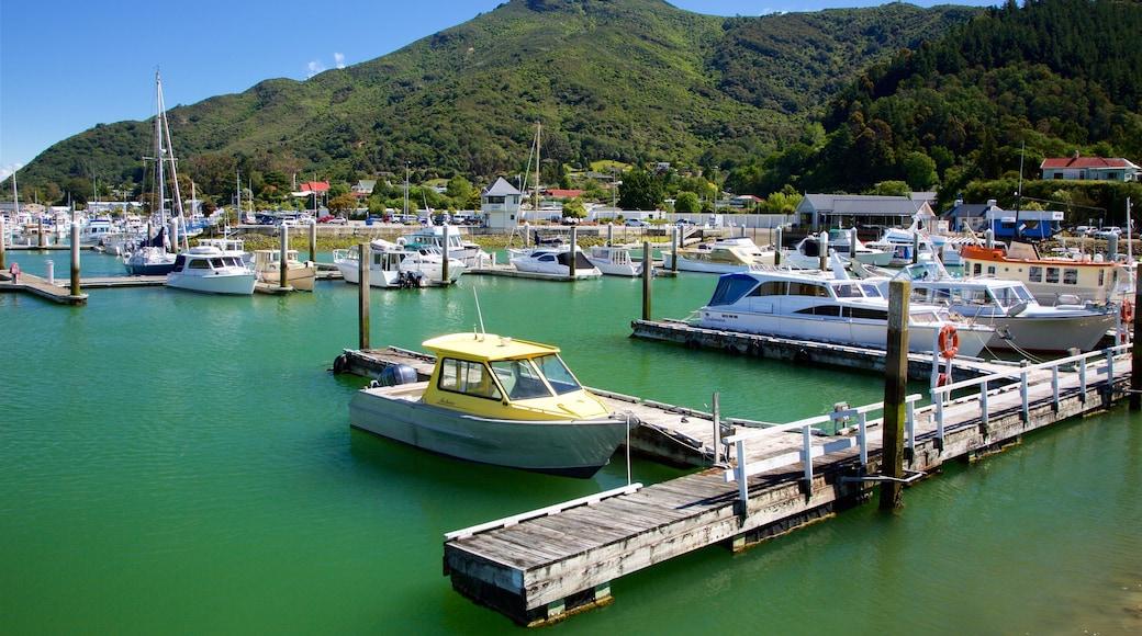 Marlborough montrant scènes forestières, marina et montagnes