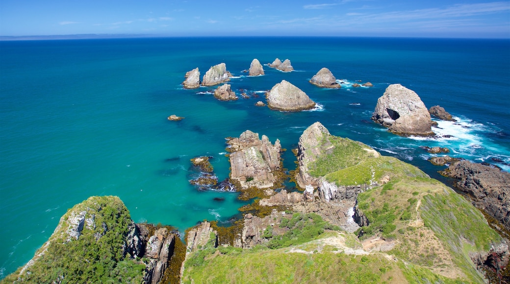 Nugget Point Lighthouse showing rugged coastline
