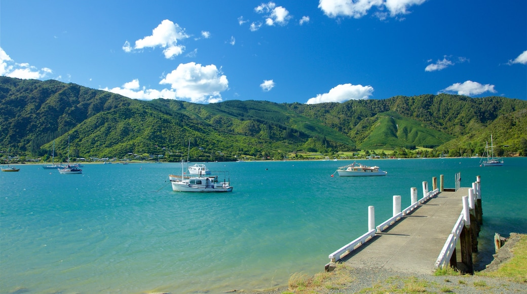 Picton showing mountains, a bay or harbour and boating