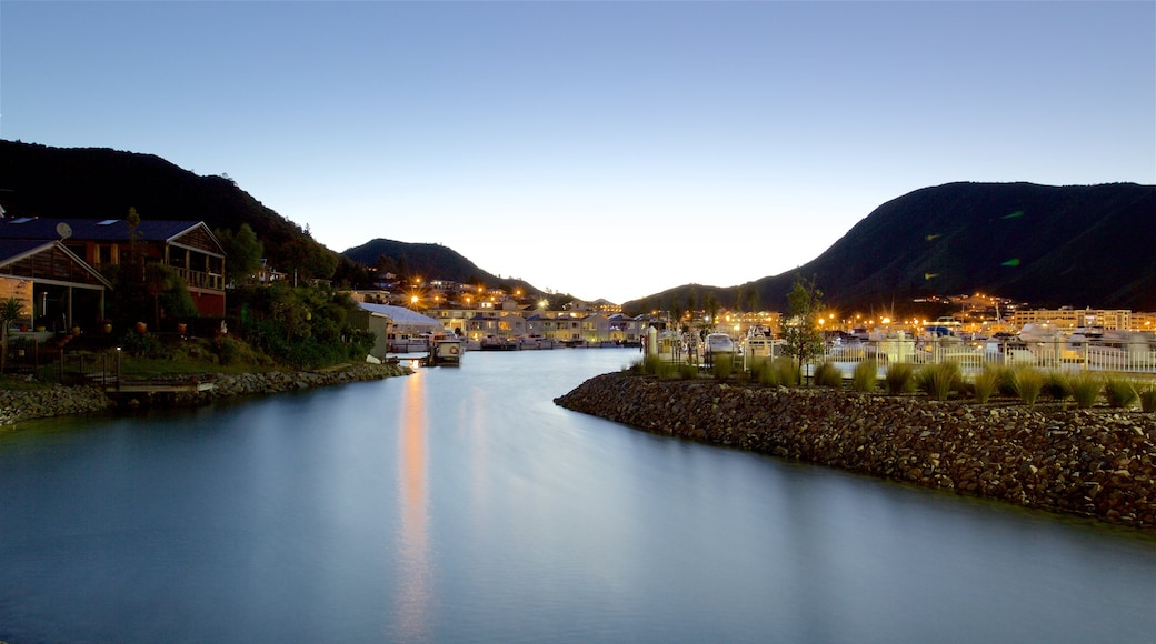 Picton which includes a coastal town, a marina and mountains