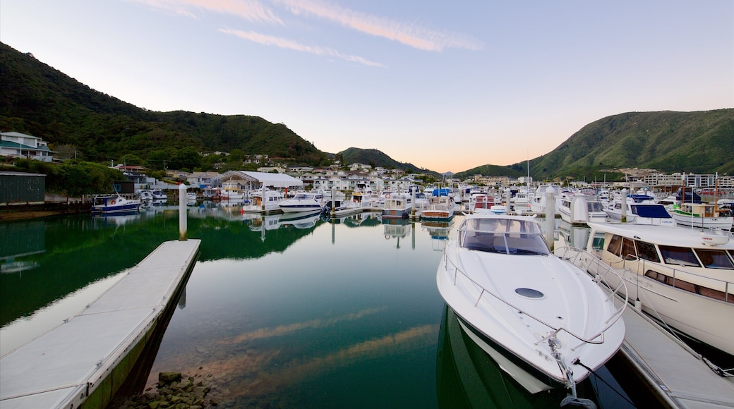 Picton Harbour featuring a marina, mountains and a bay or harbour