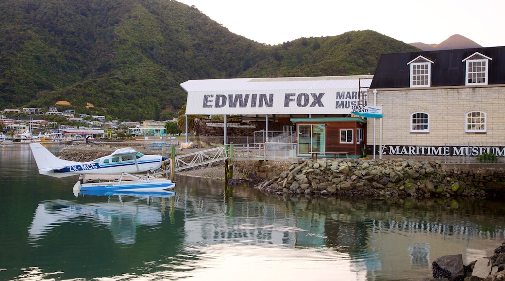 Edwin Fox Museum featuring mountains, aircraft and a bay or harbour