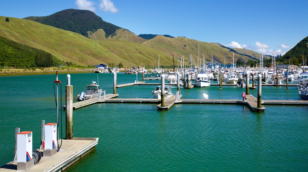 Marlborough showing mountains, a bay or harbour and a marina