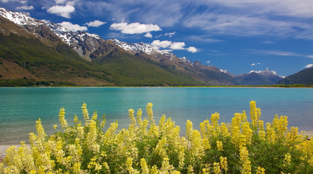 Glenorchy which includes a lake or waterhole, a pebble beach and mountains