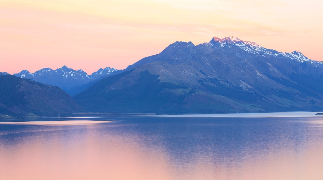 Lake Wakatipu which includes mountains, a sunset and a lake or waterhole