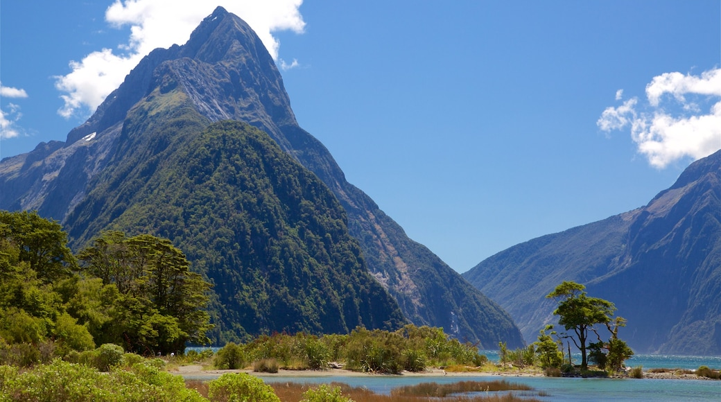 Mitre Peak showing a lake or waterhole and mountains