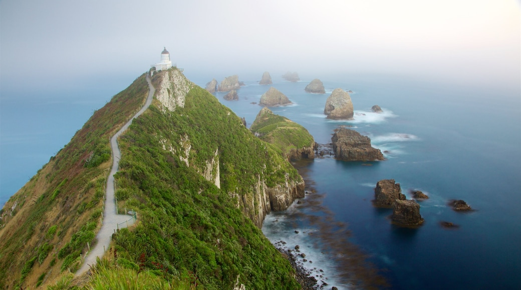 Kaka Point which includes mist or fog, a lighthouse and rugged coastline