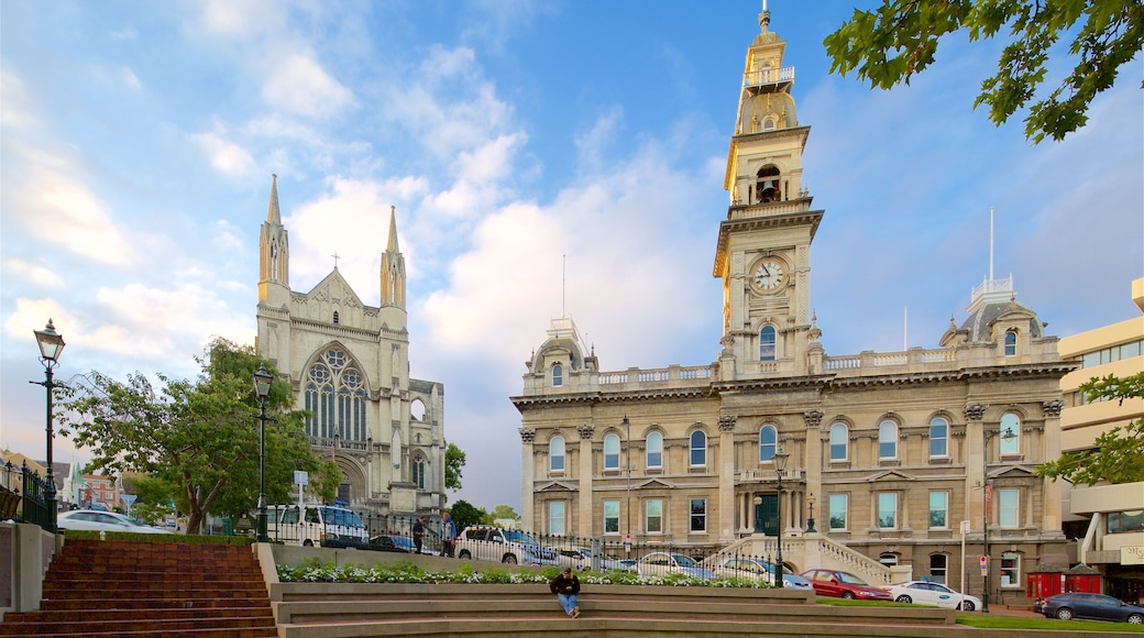 Dunedin Town Hall which includes a church or cathedral, an administrative building and heritage architecture