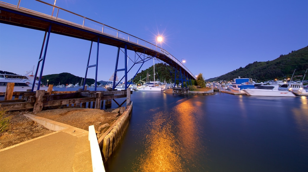 Picton Harbour showing boating, night scenes and a bridge