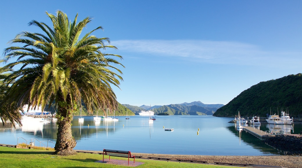 Picton which includes a pebble beach, mountains and a bay or harbour