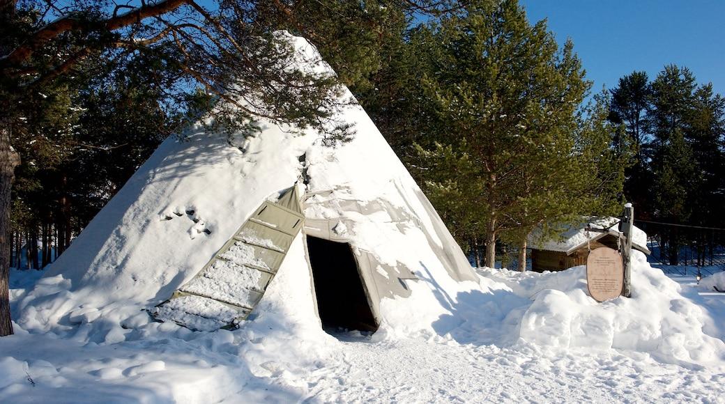 Sampi Park fasiliteter samt snø og kulturarv