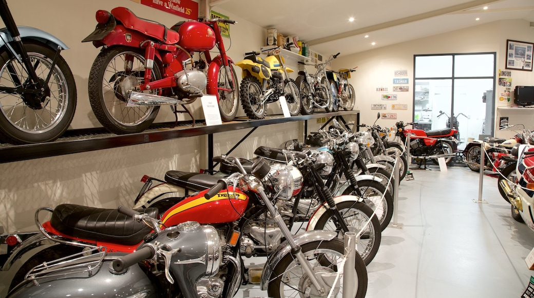 Bicheno\'s Motorcycle Museum & Restoration which includes interior views and heritage elements