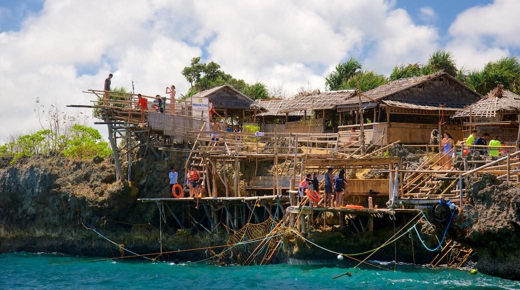 보라카이 이 포함 아열대 풍경 과 울퉁불퉁한 해안선 뿐만 아니라 대규모 사람들