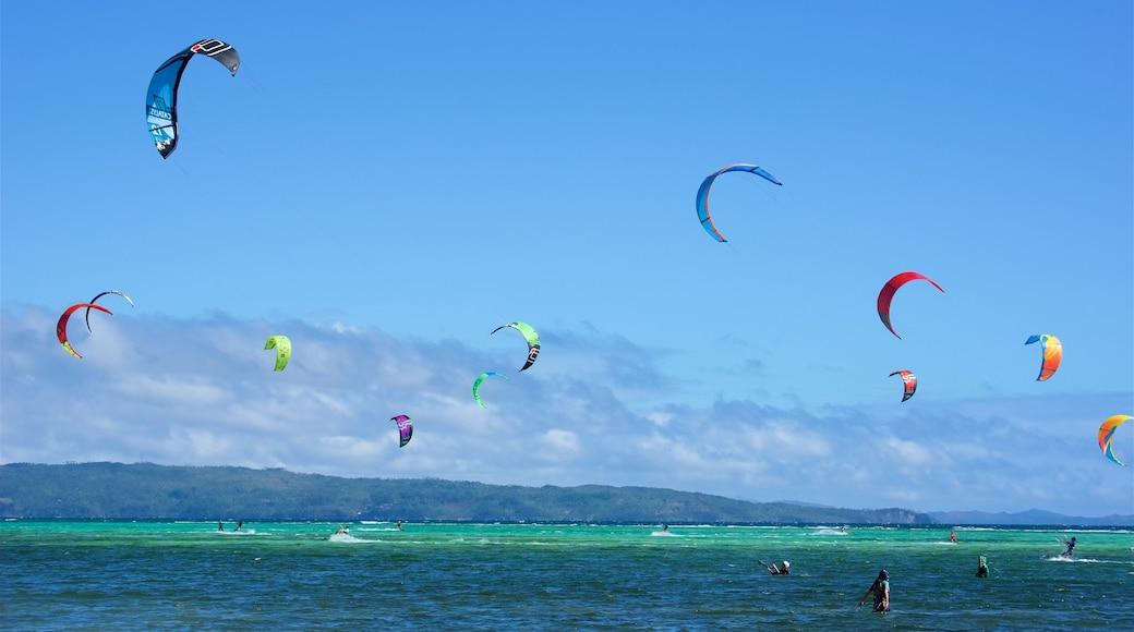 Aklan showing general coastal views and parasailing