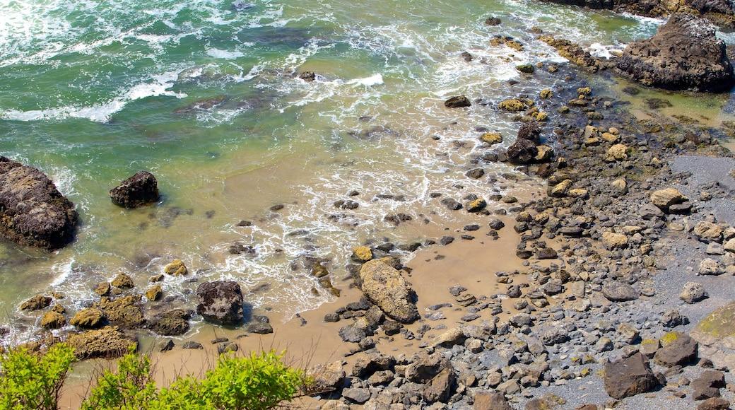 Cannon Beach which includes a pebble beach and general coastal views