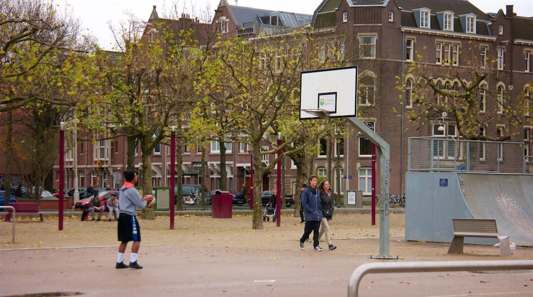 Museumplein toont een park en een klein stadje of dorpje en ook een klein groepje mensen