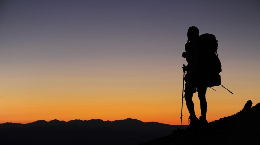 Parque Nacional de los Glaciares que incluye un atardecer y senderismo o caminatas y también un hombre