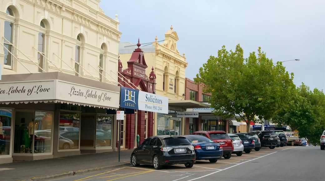 Warrnambool which includes signage, heritage architecture and street scenes