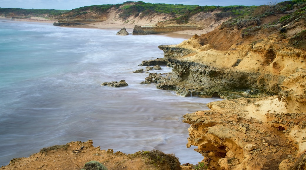 Peterborough showing a sandy beach and rugged coastline