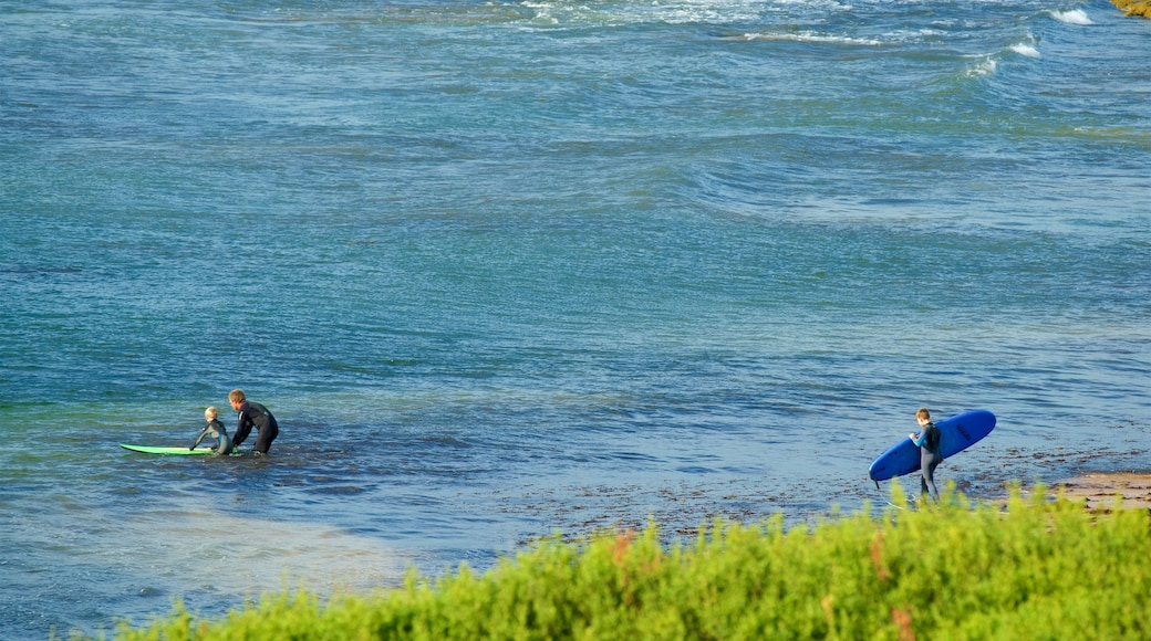 Phillip Island showing surfing as well as a small group of people