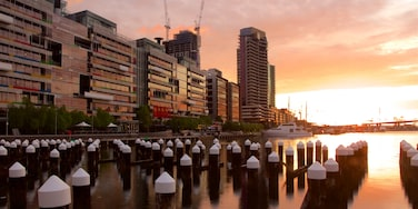 Docklands featuring central business district and a river or creek