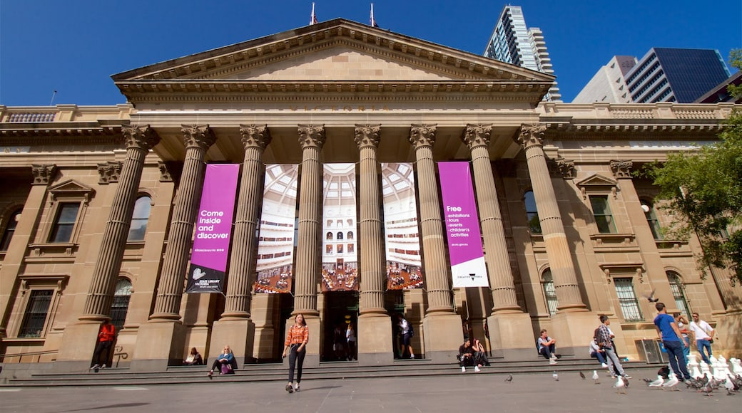 State Library of Victoria featuring heritage architecture, a city and an administrative buidling