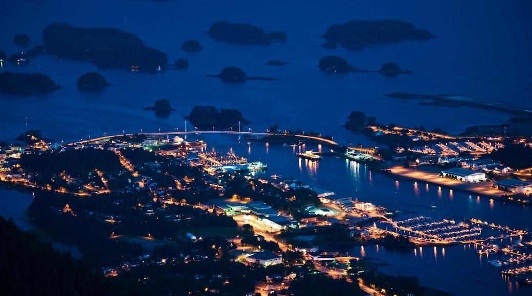 Sitka mit einem Bucht oder Hafen, Marina und bei Nacht