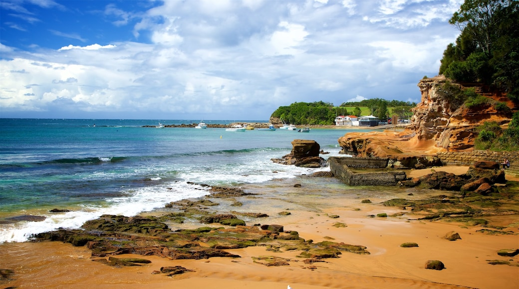Terrigal featuring rocky coastline, a sandy beach and a bay or harbor