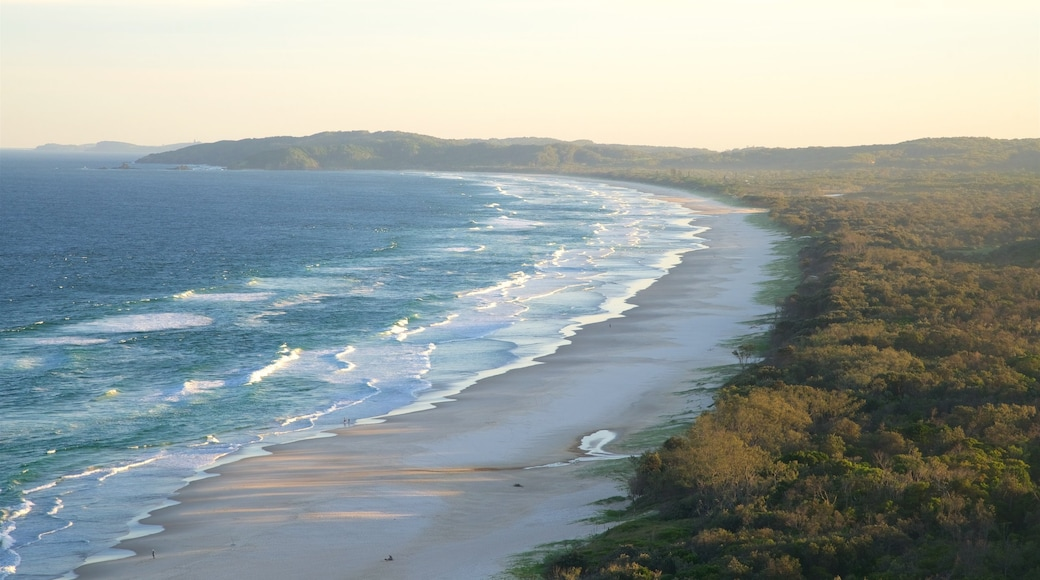 Arakwal National Park showing waves, a beach and a bay or harbour