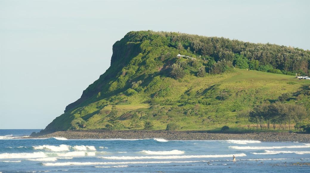 Lennox Head featuring rocky coastline