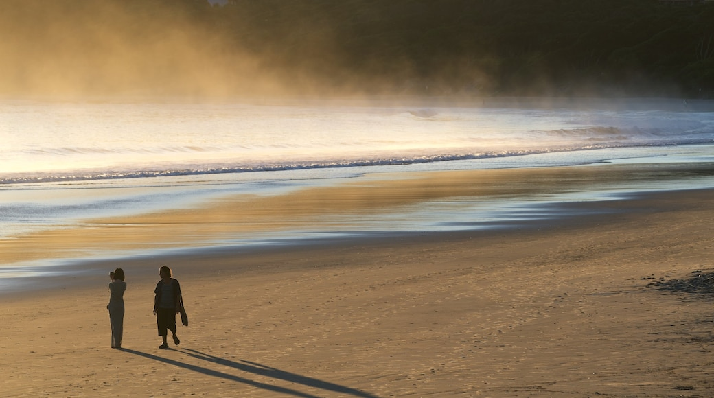 Main Beach which includes mist or fog and a beach as well as a couple