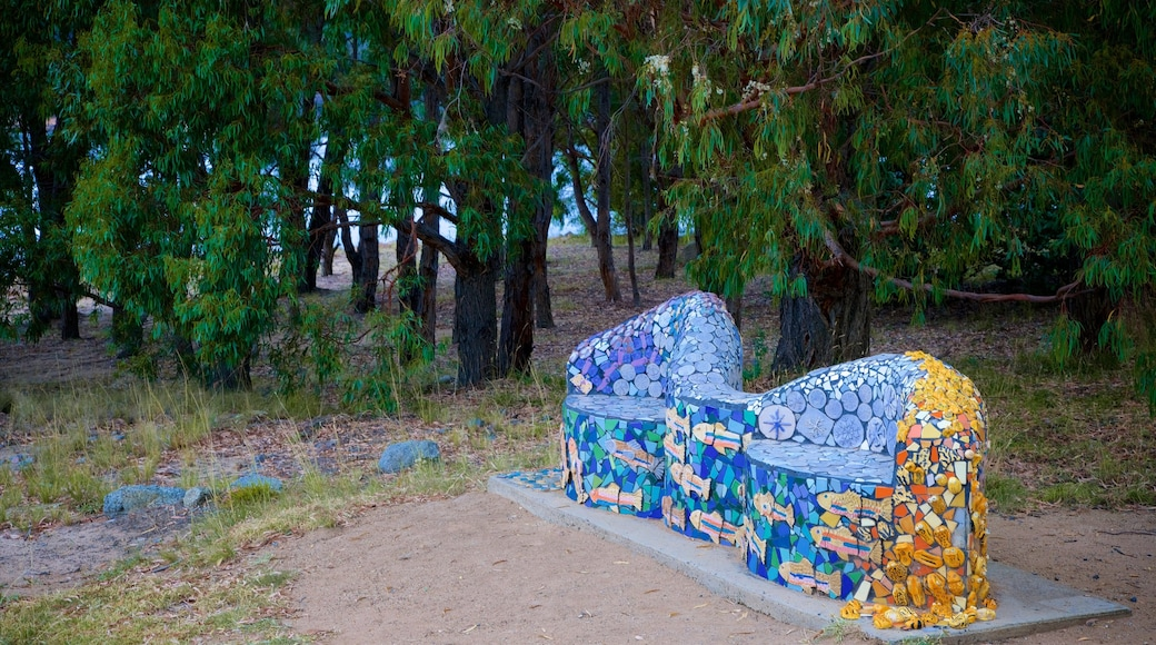 Lake Jindabyne showing outdoor art and a garden