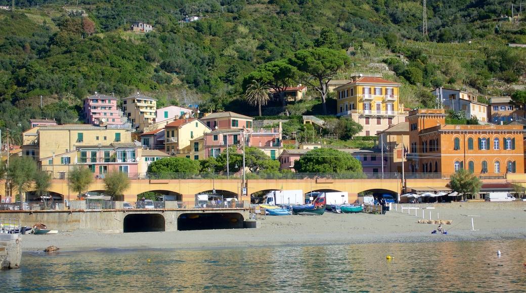 Monterosso al Mare som inkluderar en hamn eller havsbukt, en kuststad och en bro