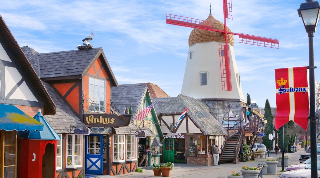 Santa Ynez Valley showing street scenes, a windmill and shopping