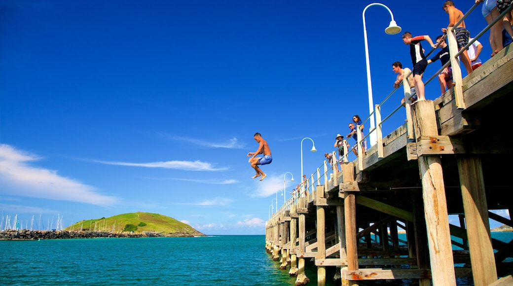 Coffs Harbour which includes a bay or harbour and swimming as well as a small group of people