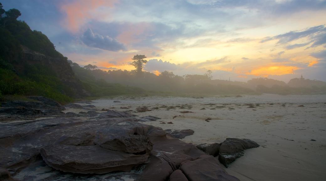 Pambula Beach featuring a sunset and general coastal views