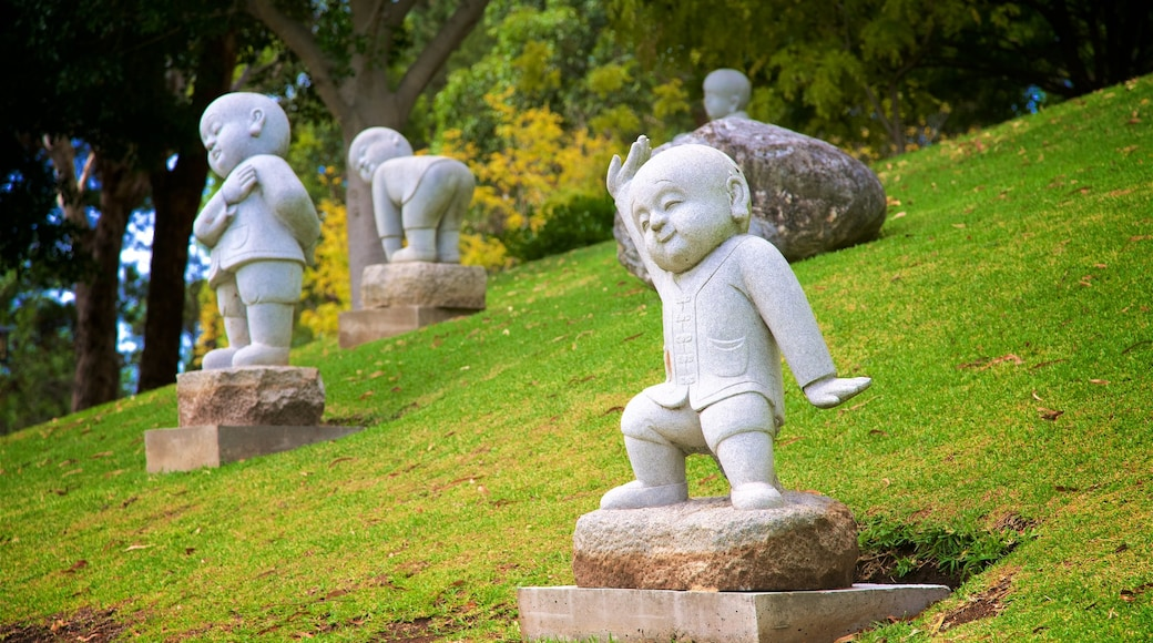 Nan Tien Temple which includes outdoor art and a statue or sculpture