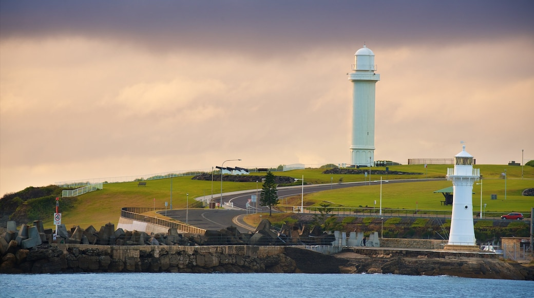 Wollongong showing a lighthouse and general coastal views