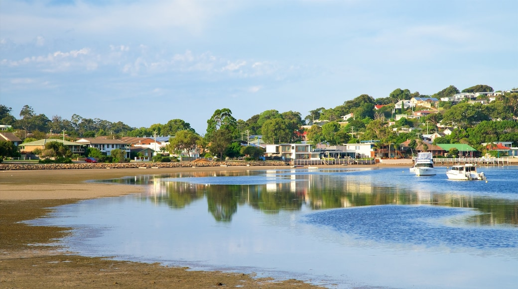 Merimbula which includes boating and a sandy beach