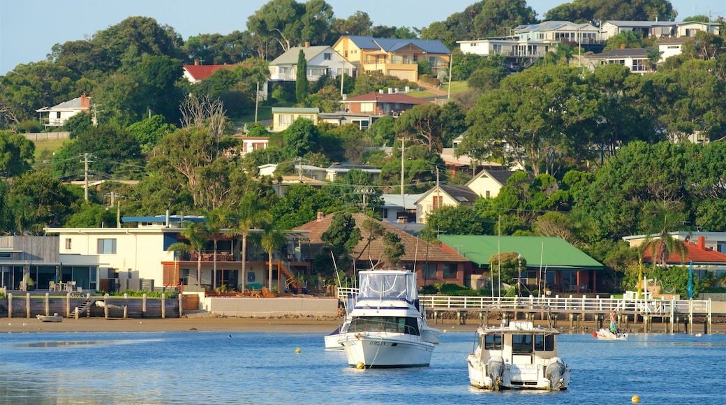 Merimbula which includes boating and a coastal town